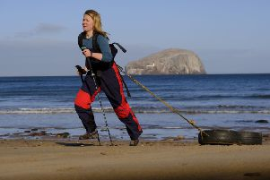 Mollie Hughes trains for her planned solo journey to the South Pole (Picture: Mike Wilkinson/PA)