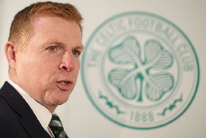 Celtic's new interim manager Neil Lennon is unveiled at Parkhead. Picture: Ian MacNicol/Getty Images