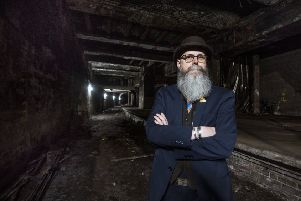 Tour guide Paul Lyons at the derelict underground platform at Glasgow Central. Picture: John Devlin