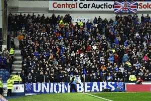 The Union Bears staged a silent protest - as they usually sing for 90 minutes - during the 4-0 win over Dundee. Picture: SNS