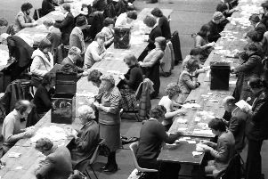 The counting hall at Meadowbank stadium in Edinburgh as the Scottish devolution referendum votes come in, March 1979.