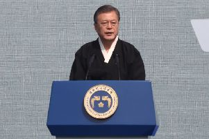 South Korean President Moon Jae-In speaks during the 100th Independence Movement Day ceremony(Photo by Chung Sung-Jun/Getty Images )