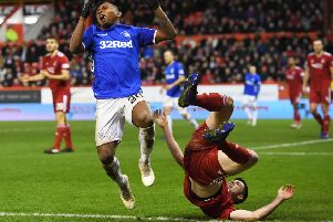 Alfredo Morelos and Scott McKenna were both dismissed following this clash at Pittodrie last month. Now they are set for a rematch. Picture: SNS.