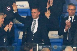 Brendan Rodgers waves to the Leicester fans at the King Power Stadium. Picture: Lindsey Parnaby/AFP/Getty