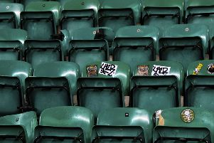 Broken seats in the away end at Easter Road. Picture: SNS