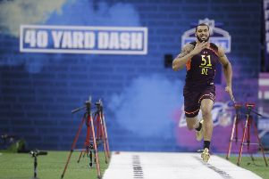 Mississippi State defensive lineman Montez Sweat runs the 40-yard dash during the NFL scouting combine. Picture: Darron Cummings/AP