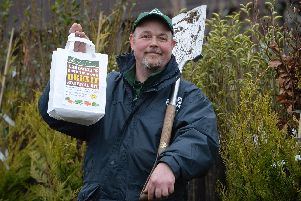 Plant area manager Brian Hawthorn at Cardwell Garden Centre, Gourock, Scotland, with the Brexit Survival Kit