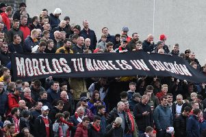 Aberdeen fans display a banner aimed at Alfredo Morelos. Picture: SNS Group