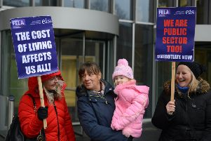 College lecturers and members of the Educational Institute of Scotland (EIS) took part in a one-day strike action over pay outside Glasgow City College and elsewhere. Picture: SWNS