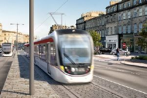 An artist's impression of trams running on Leith Walk