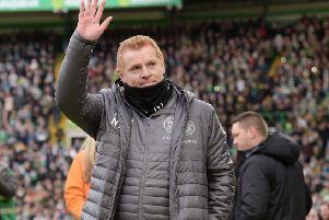 Celtic manager Neil Lennon applauds the fans as he returns to Celtic Park. Picture: SNS