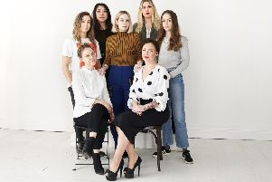 The project group behind Women Transforming Tech. Top left to right: Amanda Drotz, Satasha Wong, Linn Svenningson, Mimmi Andersson, Evelina Appelskog. Bottom: Emma Hed� and Sarah Long