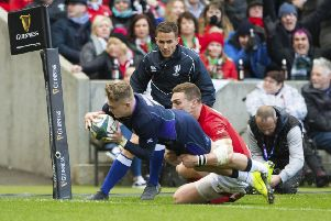 Scotland's Darcy Graham breaks through to score a try at BT Murrayfield. Picture: Bill Murray/SNS/SRU