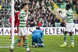 Michael Johnston rues a missed chance late in the game against Aberdeen. Picture: SNS.