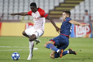 Srdjan Babic sliding in on Amadou Haidara during a Champions League qualifier between Red Star and Red Bull Salzburg. Picture: Getty