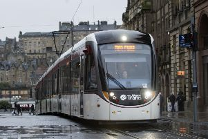 An Edinburgh Tram in action. Picture: Lesley Martin.