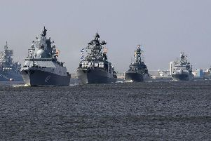 Frigate Admiral Gorshkov taking part in a naval parade last year