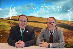 MSP Paul Wheelhouse (left) with Ventient Energy chief Mark Jones at the firm's new Edinburgh head office. Picture: Jon Savage
