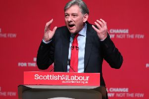 Richard Leonard delivers his keynote speech at the Scottish Labour conference. Picture: PA