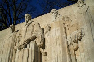 John Knox, far right, stands with John Calvin, second left, in this monument to the Reformation in Geneva (Picture: Gill McLaren)