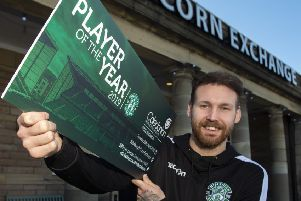 Hibs' Martin Boyle promotes the club's Player of the Year night. Picture: SNS