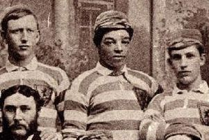 Andrew Watson, centre, is though to be the first black international footballer.