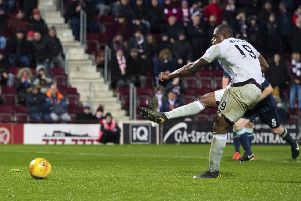 Hearts' Uche Ikpeazu saw his penalty saved by Partick Thistle keeper Conor Hazard. Picture: SNS