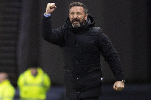 Derek McInnes celebrates as Aberdeen record their third win of the season over Rangers in Glasgow. Picture: SNS Group