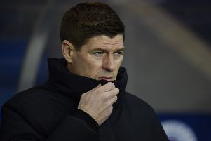 Steven Gerrard looks on grimly as Aberdeen knock Rangers out of the Scottish Cup. Picture: SNS Group