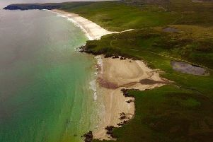 Tolsta Beach on the Isle of Lewis. Douglas Skelton's Thunder Bay is set on the fictional Scottish island of Stoirm.