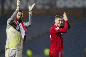Aberdeen's Joe Lewis (left) with Dean Campbell celebrate beating Rangers to reach the Scottish Cup semi-finals. Picture: SNS