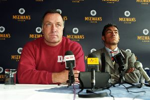 New Rangers signing Giovanni Van Bronckhorst is unveiled to the media by manager Dick Advocaat. Picture: SNS