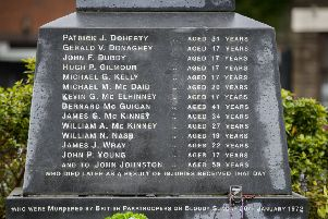 The Bloody Sunday Memorial in Derry's Bogside with the names of those killed on Bloody Sunday. Picture: Liam McBurney/PA Wire