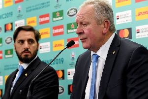 World Rugby chairman Bill Beaumont, right, and vice-chairman Agustin Pichot. Picture:  Toshifumi Kitamura/AFP/Getty Images)