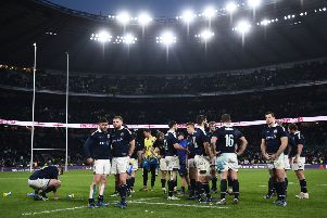 Scotland's players are dejected after suffering a heavy defeat in the 2017 Calcutta Cup at Twickenham. Picture: Getty Images