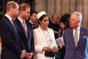 The Duchess of Sussex with her husband, Prince Charles and the Duke of Cambridge. Picture: Getty