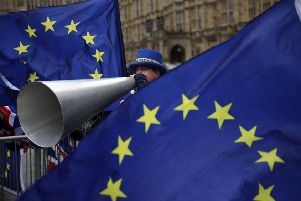 A pro-European protester outside the Houses of Parliament. Picture: Matt Dunham/AP