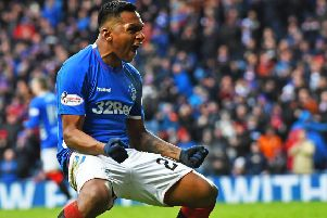 Alfredo Morelos celebrates after grabbing the equaliser. Picture: SNS Group