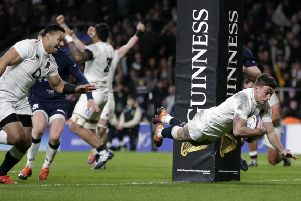 George Ford scores England's fifth try in stoppage time in the 38-38 draw with Scotland. Picture: Henry Browne/Getty Images