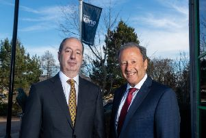 Non-executive directors Martyn Everett (left) and Clive Fenton at Stewart Milne Group HQ. Picture: Contributed