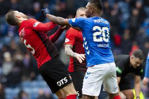 Alfredo Morelos (right) clashes with Kilmarnock's Kirk Broadfoot. Picture: SNS Group