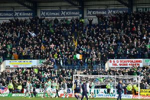 Celtic fans celebrate victory over Dundee. Picture: SNS