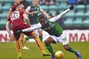 Stephane Omeonga produced a superb display in the Hibs midfield against Motherwell