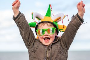 Five-year-old Tom Forrester celebrates St Patrick's Day at the Pageant on Portobello Promenade. Picture: Ian Georgeson