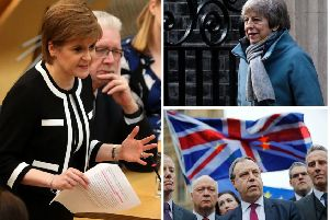 Nicola Sturgeon (left) has hit out at speculation the Democratic Unionist Party (bottom right) may be allowed a seat at Brexit trade talks in an effort by Mrs May to secure the passage of her deal. Pictures: AP