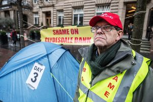 John Guidi, 63, blames Clydedale Bank for the collapse of his property business and is now staging a hunger strike in Glasgow. Picture: John Devlin