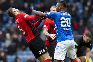 Rangers forward Alfredo Morelos, right, and Kilmarnock's Kirk Broadfoot. Picture: Craig Williamson/SNS