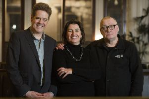 Left to right: John Hatfield, Debbie Byers of Speaker Buzz and Stuart Cosgrove. Picture: Peter Sandground.