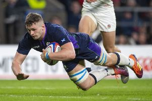 Magnus Bradbury goes over the line for Scotland's third try at Twickenham. Picture: SNS.