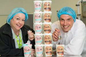 Yvonne McArthur, Asda trading assistant, and Enzo Durante, managing director of Porrelli Ice Cream. Picture: Ian Georgeson